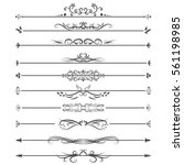 vector set of line border on... | Shutterstock .eps vector #561198985
