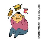 man suffers from bulimia and it ... | Shutterstock .eps vector #561207088