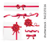 set of decorative red bows with ... | Shutterstock .eps vector #561215116