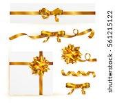 set of decorative golden bows... | Shutterstock .eps vector #561215122