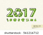 new year 2017 with recycle sign ... | Shutterstock .eps vector #561216712