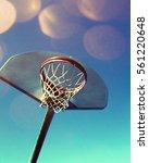 Basketball hoop and net on a...