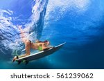 active girl in bikini in action.... | Shutterstock . vector #561239062