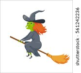 witch on a broomstick.... | Shutterstock .eps vector #561242236