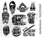 heavy rock music badge vector... | Shutterstock .eps vector #561254365