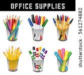 office supplies  writing and... | Shutterstock .eps vector #561274882