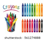 crayons in 18 rainbow colors ...   Shutterstock .eps vector #561274888