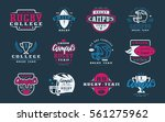 badges set of campus rugby team.... | Shutterstock .eps vector #561275962