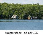 Two luxury boathouses - stock photo