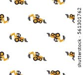 seamless pattern with tractor...   Shutterstock .eps vector #561301762