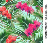 tropical flowers  palm leaves ... | Shutterstock .eps vector #561303406