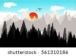 landscape with sun | Shutterstock .eps vector #561310186