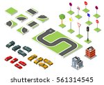 set isometric road and vector... | Shutterstock .eps vector #561314545