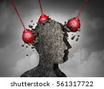 painful headache pain and... | Shutterstock . vector #561317722