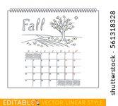 page of wall calendar. fall....   Shutterstock .eps vector #561318328