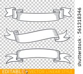 Banners Ribbons. Editable Line...