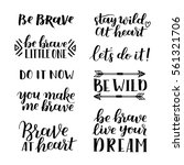 set of hand drawn quotes about... | Shutterstock .eps vector #561321706