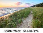 a walk on the beach. sandy path ... | Shutterstock . vector #561330196