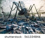 giant insects destroy the city. ... | Shutterstock . vector #561334846