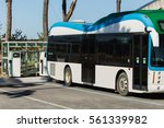 electric vehicle bus stands at...   Shutterstock . vector #561339982