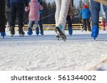 boys and girls are skating on... | Shutterstock . vector #561344002