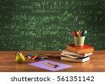 a stuffed school desk with... | Shutterstock . vector #561351142