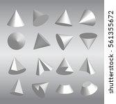 set of 3d cones and fractions... | Shutterstock .eps vector #561355672