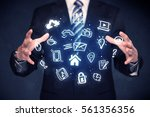 blue multimedia icons in the... | Shutterstock . vector #561356356