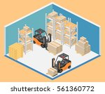 isometric interior of warehouse.... | Shutterstock .eps vector #561360772