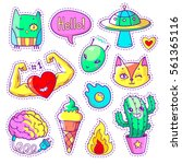 cool set of stickers in 80s 90s ... | Shutterstock .eps vector #561365116