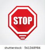 stop sign   vector flat design... | Shutterstock .eps vector #561368986