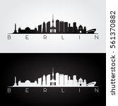 Stock vector berlin skyline and landmarks silhouette black and white design vector illustration 561370882