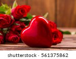 Roses Buquet And Red Heart