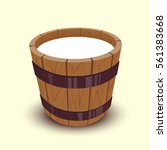 Milk In Wooden Bucket.cartoon...