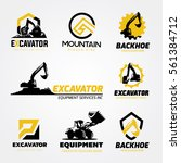 backhoe excavator logo set.   Shutterstock .eps vector #561384712