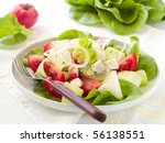 Appetizer from lettuce,zucchini, tomatoes and cheese with olive oil - stock photo