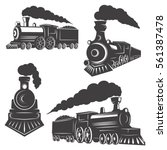 Set Of Trains Icons Isolated O...