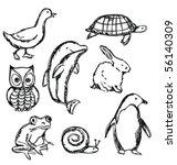 set of sketched animals   Shutterstock .eps vector #56140309