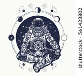 astronaut in the lotus position ... | Shutterstock .eps vector #561423802