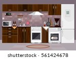 kitchen interior with furniture.... | Shutterstock .eps vector #561424678