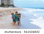 two happy little kids boys and... | Shutterstock . vector #561426832