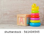 Baby toys on wooden table....