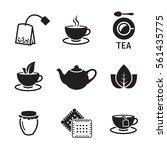tea icons set. black on a white ... | Shutterstock .eps vector #561435775
