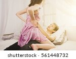 young passionate couple making... | Shutterstock . vector #561448732
