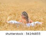 young beautiful woman in golden ... | Shutterstock . vector #56146855