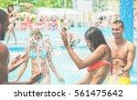 happy friends having fun in... | Shutterstock . vector #561475642