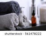 stack of clean towels  closeup   Shutterstock . vector #561478222
