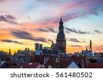 beautiful view on old riga... | Shutterstock . vector #561480502