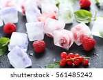 ice cubes with raspberries and...   Shutterstock . vector #561485242