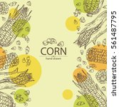 background with corn . hand... | Shutterstock .eps vector #561487795